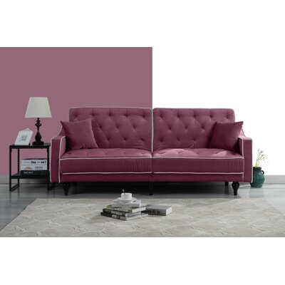 Hypes Mid Century Convertible Sofa Upholstery: Purple