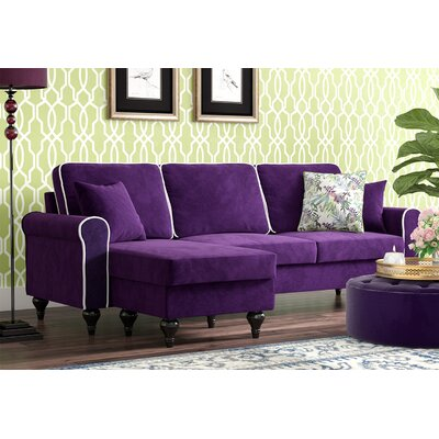 Ester Reversible Sectional Upholstery: Purple