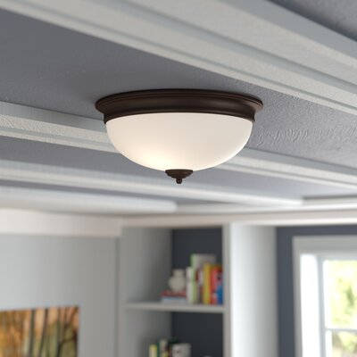 Byron 2-Light Flush Mount Finish: Textured Aged Bronze, Shade Color: White