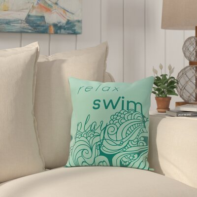 Grand Ridge Mellow Mantra Word Throw Pillow Size: 26 H x 26 W, Color: Aqua