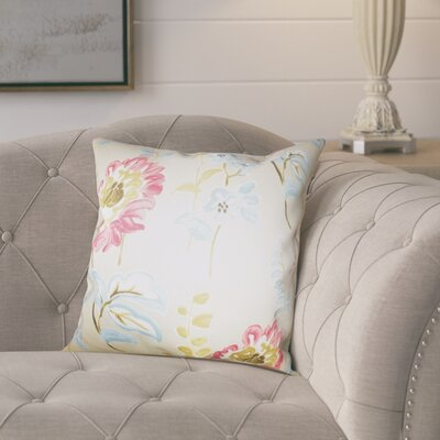 Elissa Floral Cotton Throw Pillow Color: Light, Size: 22 x 22