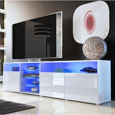 Boutte Body High Gloss Doors Modern LED 79 TV Stand Color: White