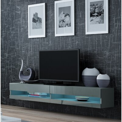 Ramsdell LED Wall Mounted Floating 80 TV Stand Color: Gray