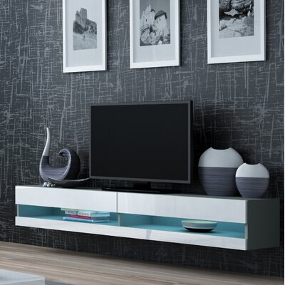 Ramsdell LED Wall Mounted Floating 71 TV Stand Color: Gray/White