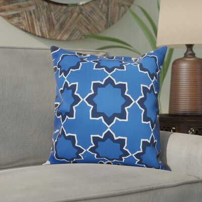 Meetinghouse Bohemian Geometric Outdoor Throw Pillow Size: 18 H x 18 W, Color: Blue