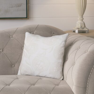 Jud Blooms Antique Flower Throw Pillow Size: 18 H x 18 W, Color: White