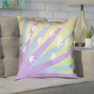 Enciso Birds and Sun Faux Leather Pillow Cover Color: Purple/Blue/Yellow Ombre, Size: 26 H x 26 W