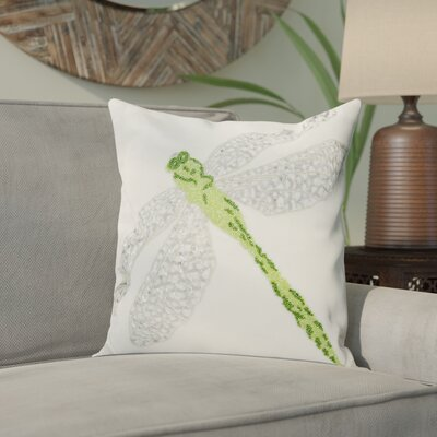 Telford Beaded Dragonfly Indoor/Outdoor Throw Pillow Color: Green/White