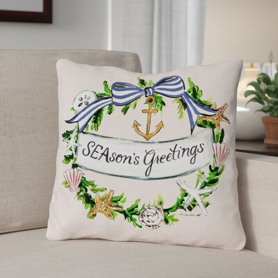 Seasons Greetings Nautical Wreath Frame Throw Pillow Size: 18 x 18