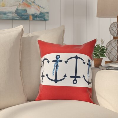 Hancock Anchor Stripe Print Outdoor Throw Pillow Size: 20 H x 20 W, Color: Red