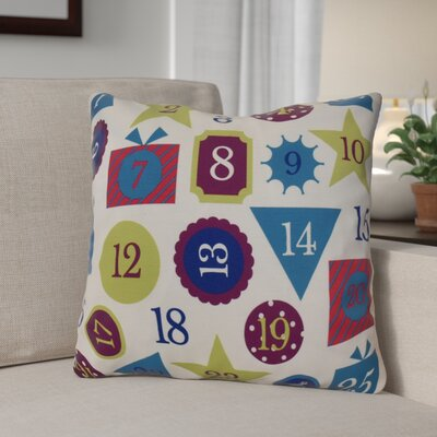 Advent Calendar Outdoor Throw Pillow Size: 18 H x 18 W, Color: Royal Blue
