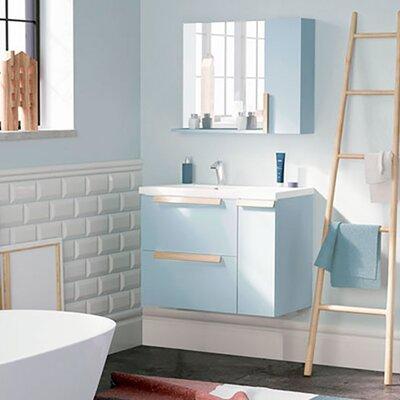 Mckeehan Modern 32 Wall-Mounted Single Bathroom Vanity Set with Mirror Base Finish: Light Blue
