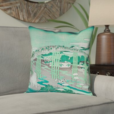 Enya Japanese Bridge Double Sided Print Pillow Cover Color: Green, Size: 26 x 26