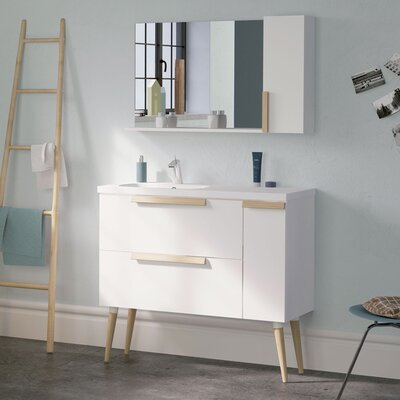 Iniguez Modern 40 Wall-Mounted Single Bathroom Vanity Set with Mirror Base Finish: White