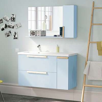 Iniguez Modern 40 Wall-Mounted Single Bathroom Vanity Set with Mirror Base Finish: Blue