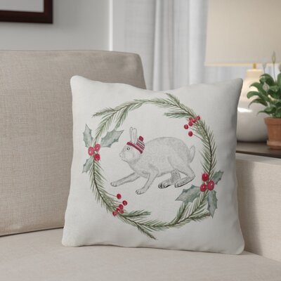 Bunny Christmas Outdoor Throw Pillow Size: 18 x 18, Color: Green/ Red/ Grey/ Ivory
