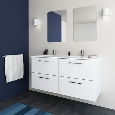 Iorio Modern 48 Wall-Mounted Bathroom Vanity Set Base Finish: White
