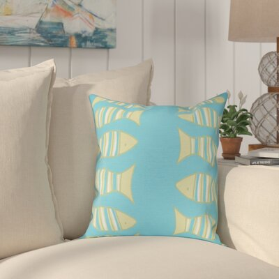 Grand Ridge Somethings Fishy Coastal Throw Pillow Size: 26 H x 26 W, Color: Turquoise