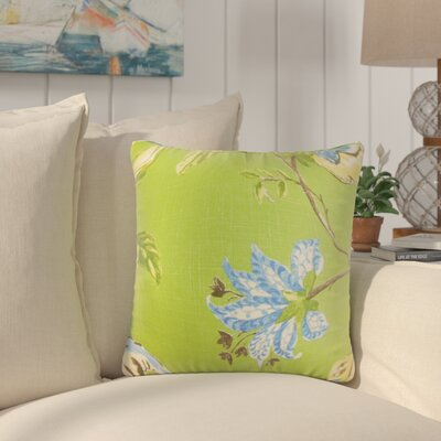 Shamavi Floral Linen Throw Pillow Color: Green