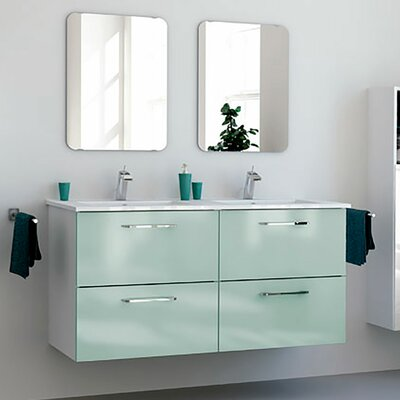 Iorio Modern 48 Wall-Mounted Bathroom Vanity Set Base Finish: Green