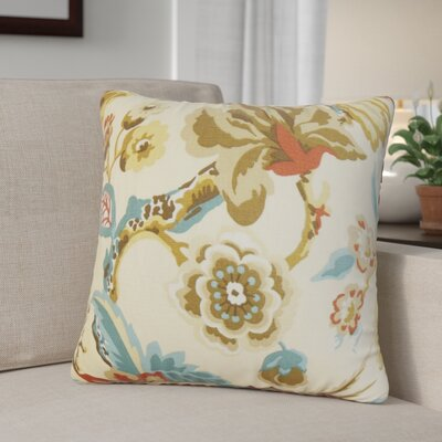 Brisson Floral Cotton Throw Pillow Color: Creme