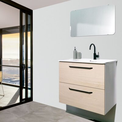 Auten Modern 24 Wall-Mounted Single Bathroom Vanity Set with Mirror Base Finish: American White