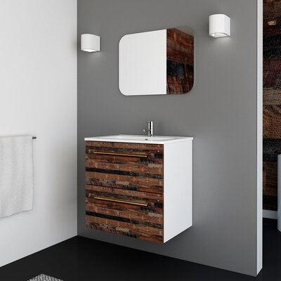 Auten Modern 24 Wall-Mounted Single Bathroom Vanity Set with Mirror Base Finish: Cognac