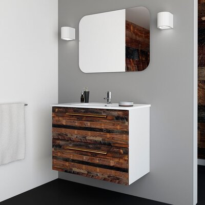 Auten Modern 32 Wall-Mounted Single Bathroom Vanity Set with Mirror Base Finish: Cognac
