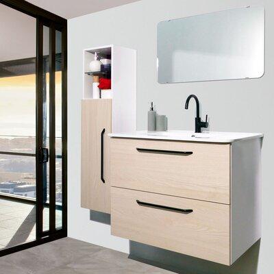 Auten Modern 32 Wall-Mounted Single Bathroom Vanity Set with Mirror Base Finish: American White