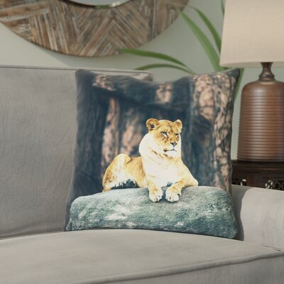 Thatcher Lioness Linen Throw Pillow Size: 18 x 18