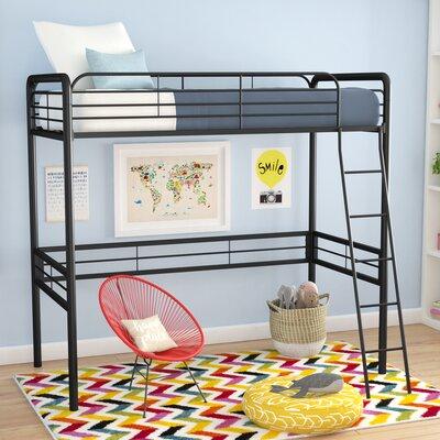 Kent Twin Loft Slat Bed Bed Frame Color: Black