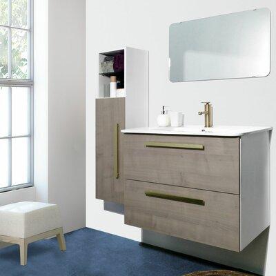 Auten Modern 32 Wall-Mounted Single Bathroom Vanity Set with Mirror Base Finish: Gray Ash