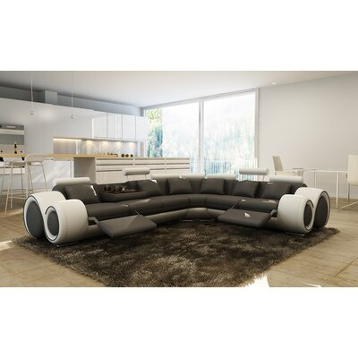 Reclining Sectional Upholstery: Gray / White