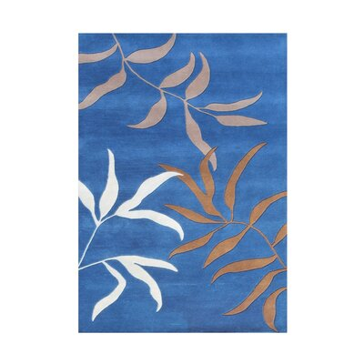 Cassano Floral Design Hand-Tufted Wool Blue Area Rug