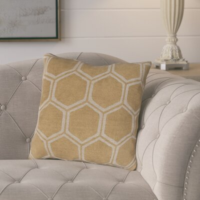 Elencourt Linen Throw Pillow Size: 22 H x 22 W x 4 D, Color: Gold/Beige, Filler: Down