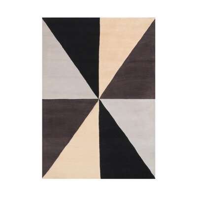 Kinner Geometric Hand-Tufted Wool Beige/Black/Brown Area Rug