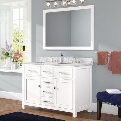 Sverre 48 Double Bathroom Vanity Set with Mirror Base Finish: White