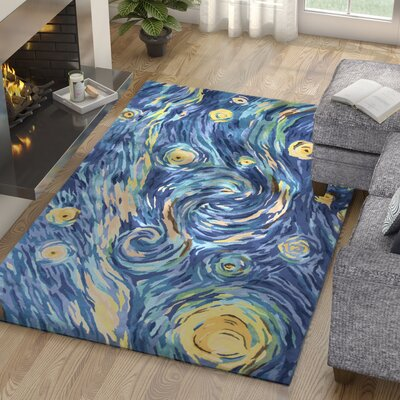 Bernardine Hand-Tufted Wool Blue Area Rug Rug Size: Rectangle 33 x 53