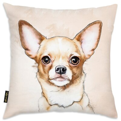 Whyte Chihuahua Watercolor Throw Pillow