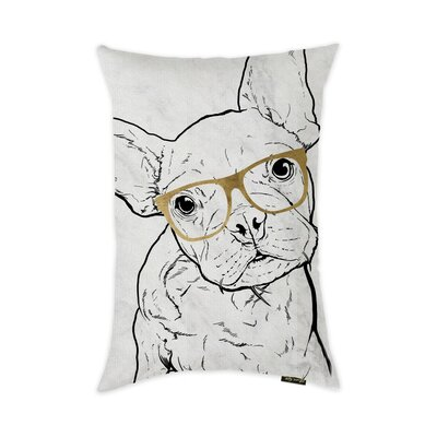 Bermudez Frenchie with Glasses Throw Pillow