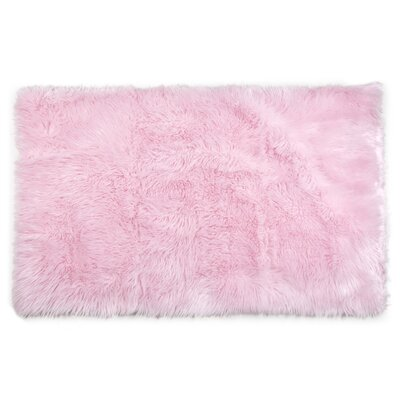 Ashton Faux Fur Pink Area Rug Rug Size: Rectangle 4 x 6