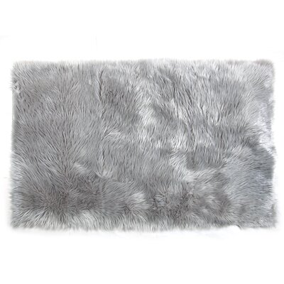 Ashton Faux Fur Backed to Suede Gray Area Rug Rug Size: Rectangle 3 x 5