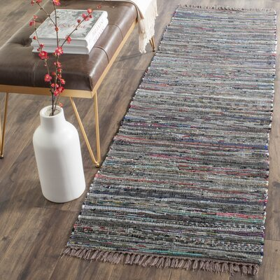 Hatteras Contemporary Hand-Woven Grey/Red/Green Area Rug Rug Size: Runner 23 x 5
