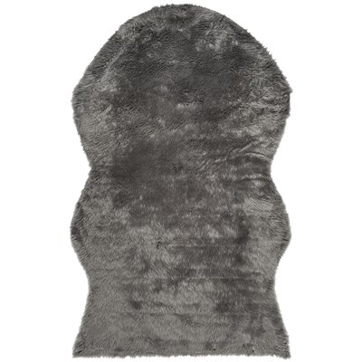 Isacc Faux Skin Grey Area Rug Rug Size: 5 x 8