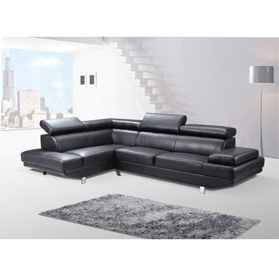 Helsel Excel Sectional Upholstery: Black, Orientation: Left Hand Facing
