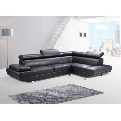 Helsel Excel Sectional Upholstery: Black, Orientation: Right Hand Facing