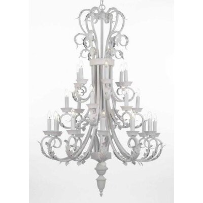 Gisele Foyer Wrought Iron 24-Light Candle-Style Chandelier
