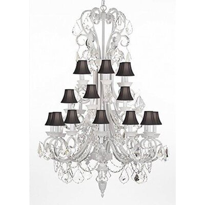 Gisele Wrought Iron and Crystal 24-Light Candle-Style Chandelier Shade Color: Black