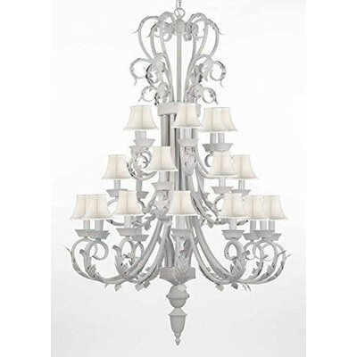 Gisele Wrought Iron and Crystal 24-Light Candle-Style Chandelier Shade Color: White