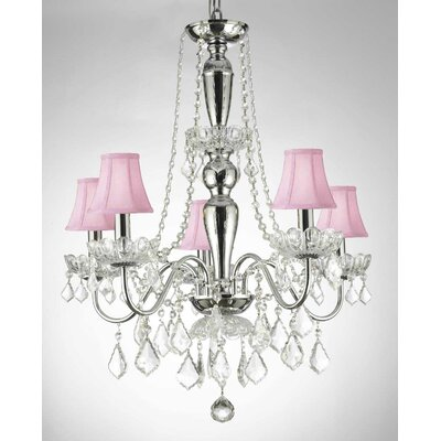 Croxton Crystal Trimmed 5-Light Candle-Style Chandelier Shade Color: Pink